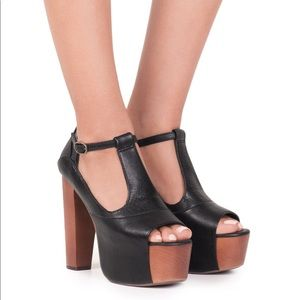 NEW • Jeffrey Campbell • Foxy Wood Heels Brown 9